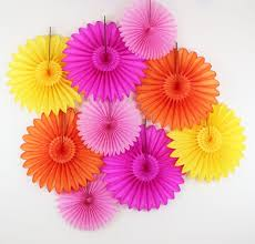Paper Flower Fans Birthday Party Decorations