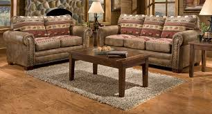 Living Room Elegant With Rustic Furniture And Cozy Leather Sofa In Small