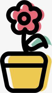 fleur de dessin animé carthame les feuilles pot de fleur jaune