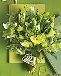 Green Bouquet With Ladys Slippers Orchids Parrot Tulips And Gladiolus GreenBouquet