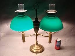 Emeralite Lamp Shade 8734 by Antique Lg Emeralite Brass Double Cased Green Glass Shade Student