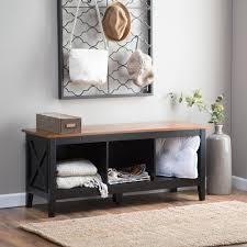 the hampton indoor storage bench black oak hayneedle