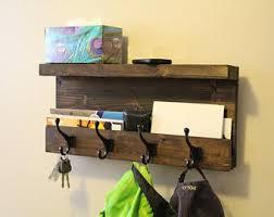 Mail Storage Coat Hooks Entryway Rack Key Shelf With
