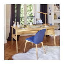 chaise bureau habitat marta chaise en tissu bleue et pieds hêtre habitat