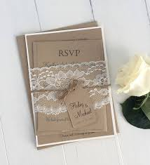 Rustic Wedding Invitation Kit Eco Kraft And Lace