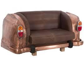 canapé marron canapé original 2 places auto métal cuir cuivre marron 163x70x78cm