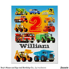 100 Construction Trucks Names Boys Name And Age 2nd Birthday Truck Poster 2nd