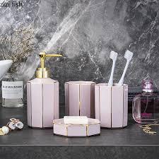 keramik bad set 4 stück badezimmer set grün rosa mundwasser tasse seife schale lotion flasche bad dekoration zubehör