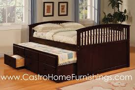 size captain bed dark walnut solid wood trundle drawers