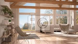 fototapete wohnzimmer luxus öko haus parkett und holz dachstühle panorama fenster