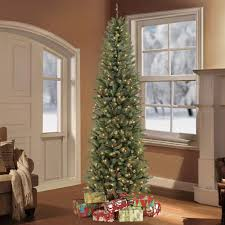 Flocked Pre Lit Pencil Christmas Tree by Puleo 7 5 Ft Pre Lit Fraser Fir Pencil Tree Artificial Christmas