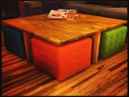 Round Coffee Table With Stools Underneath by Glass Coffee Table With Ottomans Underneath