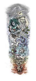 A Huge Sleeve Tattoo That I Designed For Customer Online Its Based On Greek Mythology Of Course From The Heavens To Pit