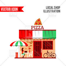 Pizza Restaurant With Terrace In Front Vector Image Artwork Of Architecture