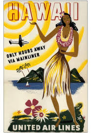 1950s United Airlines Hawaii Hula Girl US Travel Poster