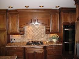 traditional kitchen design with brown subway tumbled tile
