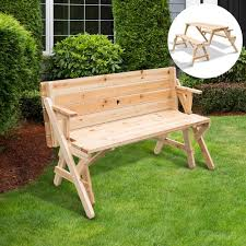 outsunny 2 in 1 convertible picnic table garden bench foldable