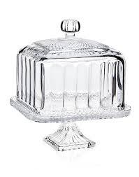 Godinger Belmont Footed Square Cake Stand Dome White Pedestal Cerami Full Size