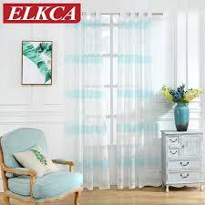 sky blue horizontale gestreifte vorhänge für wohnzimmer fenster gardinen für schlafzimmer moderne vorhänge für kinder gestreiften tüll