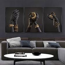 großhandel schwarz und gold mit gold armband ölgemälde auf leinwand afrikanische kunst poster und drucke wall bild für wohnzimmer
