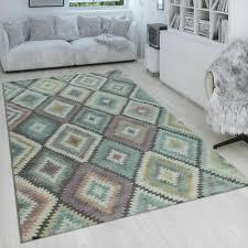 tapijten skandi teppich wohnzimmer blau orange rauten muster