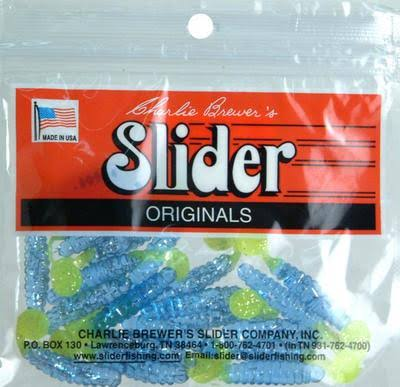 Slider Crappie Grubs Blue Chartreuse Glitter Fishing Lure - 18pk, 1 1/2""