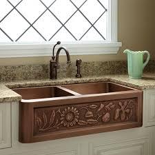42 sunflower 60 40 offset double bowl copper farmhouse sink kitchen