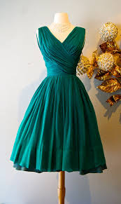 Vintage Emerald Green Silk Chiffon Cocktail Party Dress By Miss Elliette Love The Style Not Color
