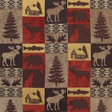 UPHOLSTERY FABRIC FAIRBANKS RED LODGE CABIN RUSTIC FISH BEAR MOOSE TREES