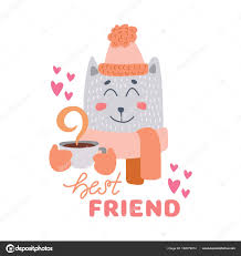 Cute Animal With Coffee Mug Vector Colorful Illustration Lovely Cat In Hat And Scarf Hot Drink Cup Sweet Cartoon Character Hand Drawn