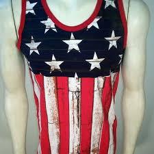 USA Rustic Look Flag America Stars Patriot Military Mens Tank Top Shirt MUHUPB