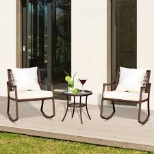 Details About Outsunny 3 Piece Outdoor Outdoor PE Rattan Wicker Patio  Rocking Chair Set