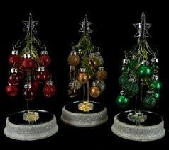 Qvc Christmas Tree Recall by Kringle Express S 3 Lit Glass Trees With Ornaments In Gift Boxes