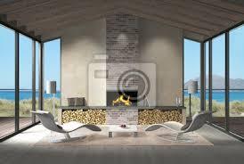 fototapete wohnzimmer mit dachbalken kamin und blick auf das meer