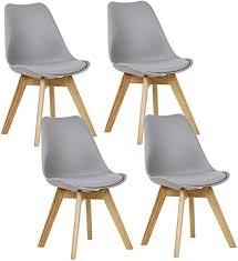 woltu 4er set esszimmerstühle küchenstuhl design stuhl esszimmerstuhl kunstleder holz grau bh29gr 4