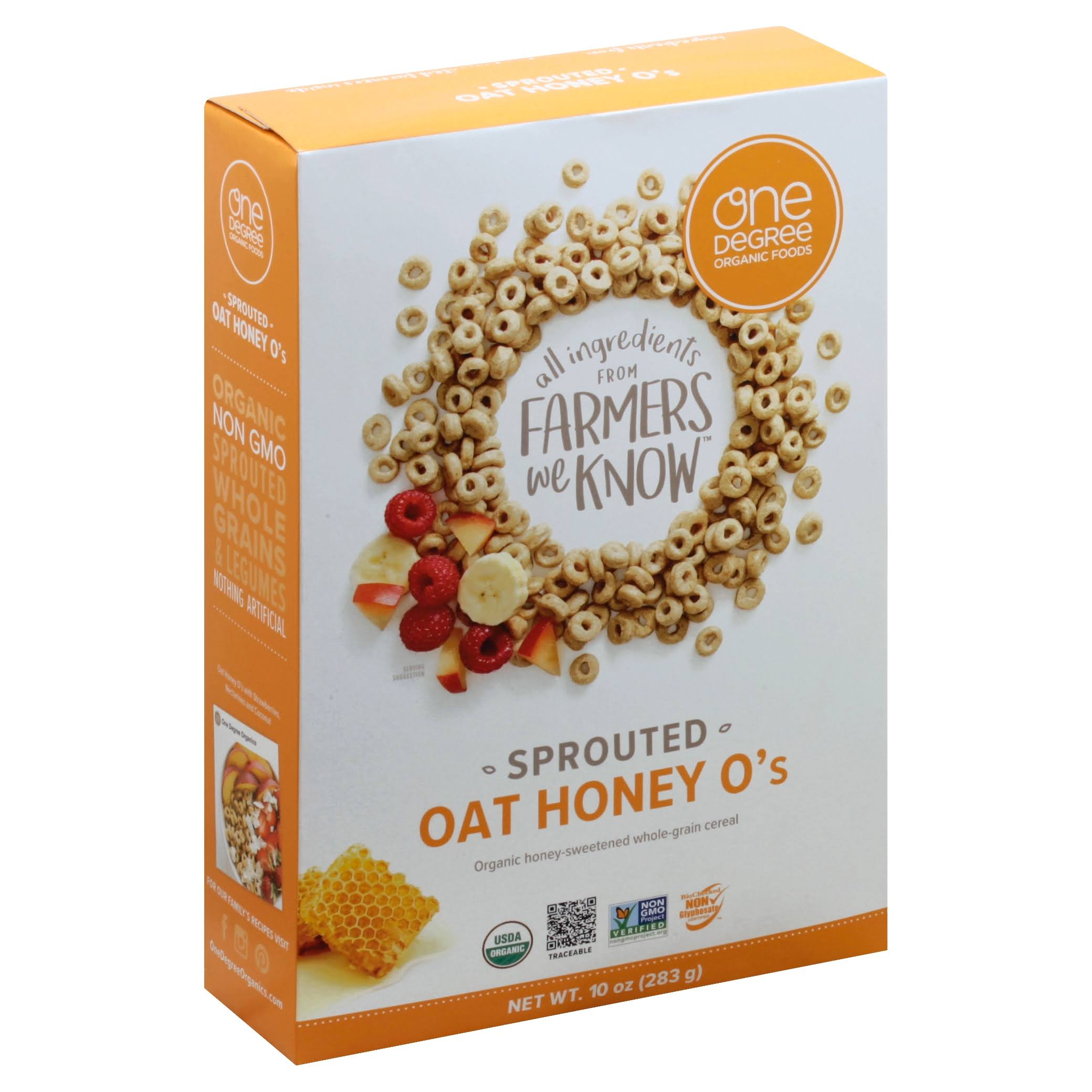 One Degree Organic Foods Honey O's Sprouted Oat - 10oz