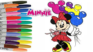 Disney MINNIE MOUSE Happy Birthday Coloring Book Page How To Color For Kids