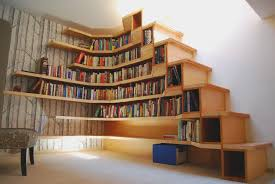 Creative Design Wall Mounted Home Book Shelves Idea Feature ... Awesome Ladder Ideas In Home Design Contemporary Interior Compact Staircase Designs Staircases For Tight Es Of Stairs Inside House Best Small On Simple Fniture Using Straight Wooden And Neat Pating Fold Down Attic Halfway Open Comfy Space Library Bookshelf Images Amazing Step Shelves Curihouseorg Spectacular White Metal Spiral With Foot Modern Pictures Solutions