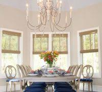 Formal Dining Room Traditional With Blue Chair Cushions High Ceilings Bay Windows