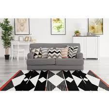 teppich modern scandi skandinavisch design wohnzimmer schwarz weiß rot 80cm x 150cm