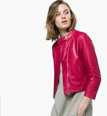 massimo dutti short leather jacket in pink outerwear