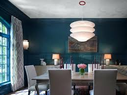 Teal Dining Room White Curtains Pendant Lamp Artwork Patterned Rug Beige Table And Chairs Lamps Furniture