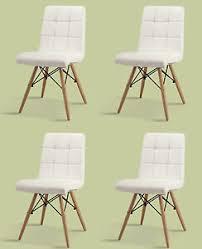 4 er set stuhl esszimmer pu leder weiss designerstuhl chair
