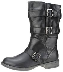 ladies biker boots faux leather low calf 3 buckle zip up cowboy