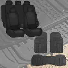 BESTFH: Black Car Seat Covers For Auto With Gray Floor Mats Sedan ...