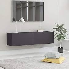 vidaxl tv schrank mit 2 klapptüren tv möbel hängeboard lowboard fernsehschrank fernsehtisch sideboard hifi grau 120x30x30cm spanplatte
