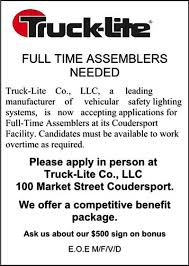 100 Truck Lite Wellsboro Pa Solomons Words For The Wise Full Time Assemblers Needed At