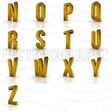 LettersMarket 3D gold Alphabet from N to Z isolated on a white