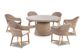 Plantation 6 Outdoor Dining Table With Coastal Wicker Chairs