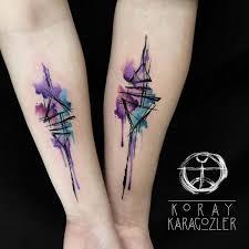 Koraykaragozler 489 12 Geometric Abstract Couple Tattoo By